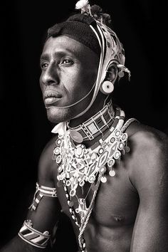 Salehe, a Samburu man from Kenya photographed on a Sahel trip in 2013. #Portraits #Africa #Kenya #BlackandWhite #Stunning