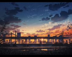 Anime picture with original cola (pixiv) sky cloud (clouds) city evening sunset landscape letterboxed cityscape building (buildings) (wire) wires train station puddle Anime Scenery Wallpaper, Anime Artwork, Wallpaper Backgrounds, Wallpapers, City Wallpaper, Anime Landscape, Landscape Art, Sunset Landscape, Ashita No Nadja