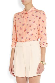 Miu MiuPrinted silk crepe de chine shirtfront