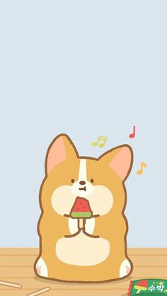 Corgi Wallpaper Iphone, Dog Wallpaper, Kawaii Wallpaper, Cartoon Wallpaper, Kawaii Drawings, Cute Drawings, Corgi Cartoon, Corgi Gif, Cute Corgi