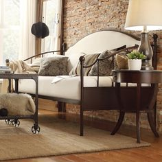 Andover Upholstered Curved Top Cherry Brown Metal Daybed by iNSPIRE Q Classic (Andover Upholstered Daybed), Kids Unisex, Beige Sofa Bed Sleeper, Sofa Beds, Daybed Room, Ikea Daybed, Daybed Couch, Full Daybed, Daybed Bedding, Bedding Sets, Metal Daybed