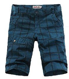 Shefetch Men's Autumn Shorts 6 Sizes Blue,Green,Off-White Blue 34