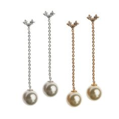 Italina aaa İmitasyon İnci dangle küpe uzun kulak hattı 18 k gül/beyaz altın kaplama küpe takı