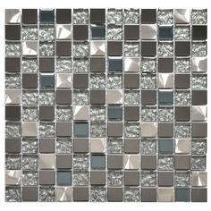 Stainless Steel Tile-Silver Black And Royal Blue Mixed Glass And Metal Tile