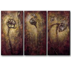 Wieco Art - Bronze Elegance 100% Hand-painted 3 Panels Abstract Flower Oil Paintings Modern Canvas Wall Art Floral Oil Painting on Canvas Art for Wall Decor Stretched and Framed Artwork Ready to Hang, 12x24inchx3pcs/set Wieco Art http://www.amazon.com/dp/B00N9P8BRM/ref=cm_sw_r_pi_dp_l0xYvb0J4T7T1