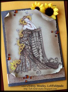 """Card using """"Sun Flower Girl"""" image from A Day For Daisies as the base, then filled in by hand with Zentangles."""