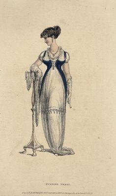 August evening dress, 1811 England, Ackermann's Repository