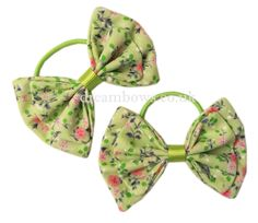 Green floral fabric girls hair bows on thin bobbles - www.dreambows.co.uk toddler hair bows, childrens hair accessories