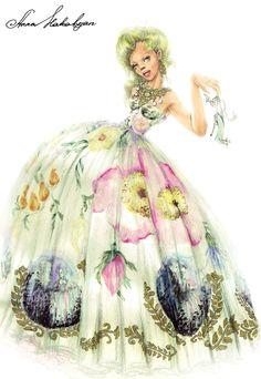 "http://annafashionillustrator.blogspot.com Vahan Khachatryan dress from collection ""Jardin Rococo"" spring-summer 2014 www.vahan.it"