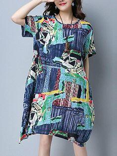 Loose Printed O-Neck Short Sleeve Women Dresses