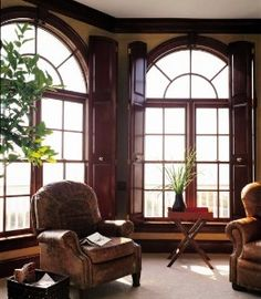 arched window, wooden solid shutters