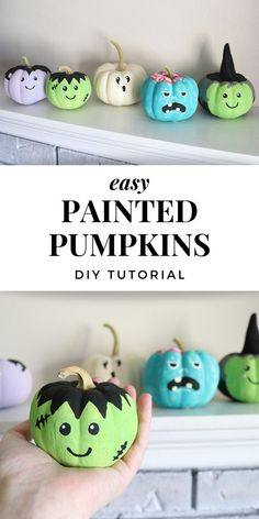These painted pumpkins with easy monster faces make super cute Halloween decorations! It's a simple pumpkin DIY that even kids can make! A fun Halloween craft using either real or fake pumpkins. Cute Halloween Decorations, Halloween Arts And Crafts, Halloween Fun, Holiday Crafts, Kids Halloween Parties, Halloween Signs, Halloween Halloween, Thanksgiving Decorations, Holiday Decor