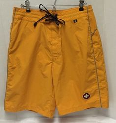 Victorinox Mens M Yellow Board Shorts Swim Trunks Suit Swiss Army Cross 36 38 #Victorinox #Trunks