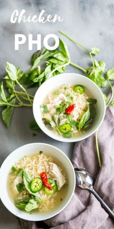 This chicken pho recipe is light but flavorful! This soup has all the comforts of old fashioned chicken noodle soup! #pho #chickensoup #easysouprecipe #easyVietnamesefood