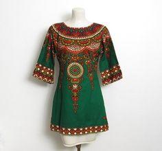 58753113 Women's Vintage 1970s Dashiki Tunic Top / Multicolored Green & Gold Print /  70s Hippie Bou Boudima Dashiki Pullover Shirt