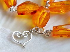 Golden genuine amber bright sterling silver heart bracelet - Valentines Day jewel tone - handmade gemstone wire wrapped jewelry