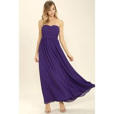 Love and Be Loved Purple Strapless Maxi Dress ($84) ❤ liked on Polyvore featuring dresses, purple, draped maxi dress, maxi skirt dress, strapless maxi dress, chiffon dresses and long maxi skirts