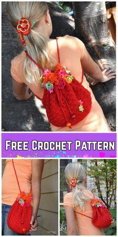 Crochet Floral Fiesta Girl's Flower Backpack/Bag in One Free Crochet Pattern