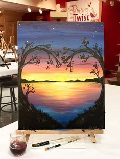How to Paint Lovely Lake Sunset at a Painting with a Twist night out! is part of pencil-drawings - Lovely Lake Sunset is one of thousands of paintings we have on any given night at Painting with a Twist Reserve your seat for this class today! Cute Canvas Paintings, Easy Canvas Painting, Simple Acrylic Paintings, Diy Painting, Painting & Drawing, Canvas Art, Decorative Paintings, Sunset Paintings, Canvas Painting Tutorials