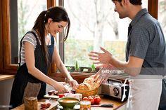 Stock Photo : Couple preparing meal