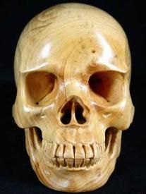 Custom Artistic Carving & Handcrafted Life Size Box Wood Skull