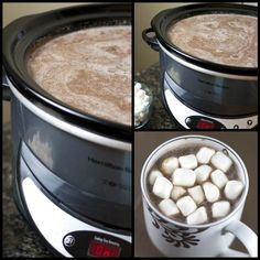 Creamy Crock Pot Hot Chocolate Recipe - throw all of the ingredients in your slow cooker and have the perfect beverage for keeping warm all winter long and for Christmas!