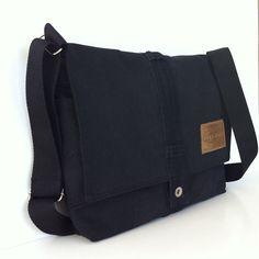 Black messenger bag  Recycled denim school bag for by Sisoibags, $57.00
