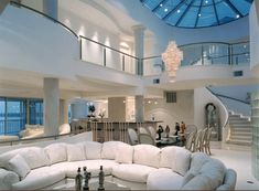Gorgeous modern style all white living room decor with white tufted chesterfield… – Kitchen Chandelier İdeas. Home Room Design, Dream Home Design, Modern House Design, My Dream Home, Dream House Interior, Luxury Homes Dream Houses, Modern Mansion Interior, Dream Rooms, Luxurious Bedrooms