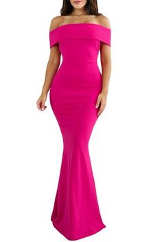 Rosy Foldover Slit Back Off Shoulder Slinky Long Party Dress