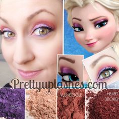 Let it go! with this Elsa-inspired look by Pretty Up Lashes! Younique pigments in Regal, sexy, vulnerable and heart broken create a palette that can thaw a Frozen heart! Available individually or in money-saving collections at prettyuplashes.com