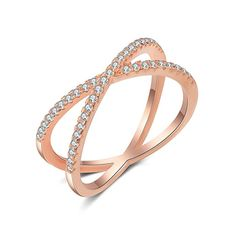 ad51fb848 X Ring Sterling Silver, Cubic Zirconia X Criss Cross Ring for Women, Size 6