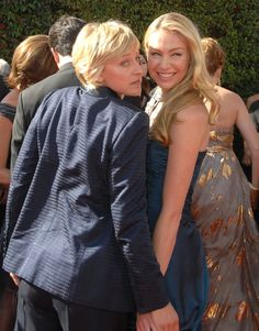 Pin for Later: Ellen DeGeneres and Portia de Rossi Have the Look of Love Down They got goofy on the carpet at the Emmys in September 2007.