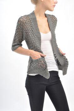 bliss blog - i heartmonday: tulle slouchy gray cardigan