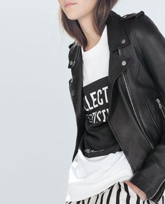 Image 3 of LEATHER BIKER JACKET from Zara