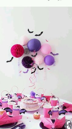 Pink and Purple Halloween Ideas Purple Halloween, Halloween Birthday, 3rd Birthday Parties, Halloween Party Decor, Girl Birthday, Halloween Ideas, Halloween Table, Birthday Ideas, Diy Party Decorations