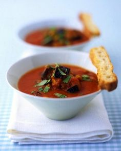 Today's the day of eggplant! discover some recipes with this summer vegetable lime Roasted tomato and eggplant soup