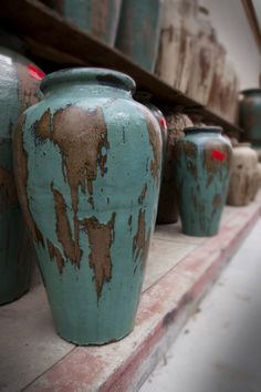Pottery, Pottery, Pottery. Teal blue pots. Rustic Glazed Pottery. For her dr, lr, and kitchen