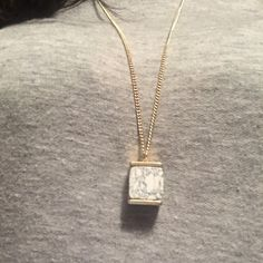 """SALE⚡️Stone cube long necklace Ivory colored stone cube pendant on 32"""" gold tone chain with 2"""" extender. Jewelry Necklaces"""