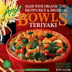 Teriyaki bowl.  Many of these option are sold at Broulim's in Driggs Idaho. These are single serving Gluten Free meals perfect to keep in the freezer and have on hand for and Gluten Free visitors.