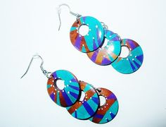 Boucles d'oreille, pendants d'oreille, ethnique, style amérindien, bois, turquoise, violet