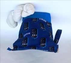 Knitting Crochet Project Bag, Medium Zipper or Drawstring, Blue Tardis Doctor…