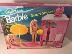 NIB BARBIE DOLL 1992 GLITTER BEACH SHOWER playset water