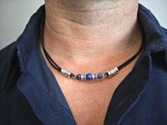 Lapis Lazuli, Sodalite, Silver Tubes Black Leather Double Strand Men's Necklace on Etsy, $19.12