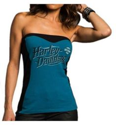 New Harley-Davidson Women's Appreciate Vision Colorblocked Tube Top, Blue online. Find the perfect Cleava Tops-Tees from top store. Motorcycle Boots Outfit, Motorcycle Gear, Motorcycle Clothes, Motorcycle Hairstyles, Tube Top, New Harley Davidson, T Shirt And Jeans, Blue Fashion, Lady