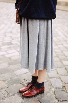 brogues, socks, maxi skirt