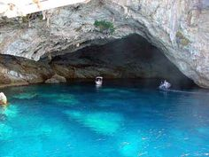It is not only the beautiful beaches of Greece that are worth visiting, but also the amazing sea caves that you can explore! Lovers of nature have to admit that beauty of Greece is mainly at the… Vacation Places, Dream Vacations, Vacation Spots, Places To Travel, Beautiful Ruins, Beautiful Beaches, Oh The Places You'll Go, Places To Visit, Travel Route