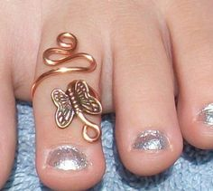 Copper Swirl Butterfly  Adjustable Toe Ring by circleinthewood, $12.00