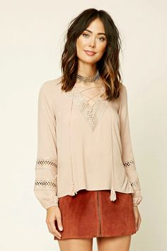 Forever 21 Contemporary - A woven top featuring a lace-up V-neckline with ornate scalloped crochet trim, thread tassels, and long sleeves with sheer crochet panels.