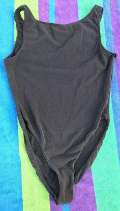 1990's Danskin Leotard Bodysuit Black Bateau Neck Adult Medium  #Danskin