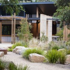 Photograph portfolio of native gardens and landscapes designed and built by Australian Landscape designer Sam Cox. Photograph portfolio of native gardens and landscapes designed and built by Australian Landscape designer Sam Cox. Modern Landscape Design, House Landscape, Landscape Plans, Garden Landscape Design, Coastal Landscaping, Farmhouse Landscaping, Modern Landscaping, Front Yard Landscaping, Landscaping Ideas